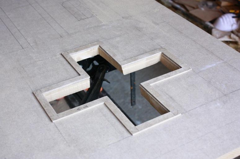 cut and framed d-pad hole