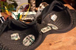 Conductive Thread and Stripboards Inside of Playstation Controller Bra