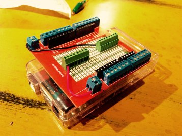 Our (clunky) Arduino Uno screw terminal shield!